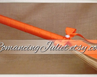 Classic Monochromatic Jump Broom Made in Your Custom Color with Rhinestone Accent ..shown in orange