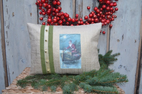 Christmas Pillow with Santa on a Boat