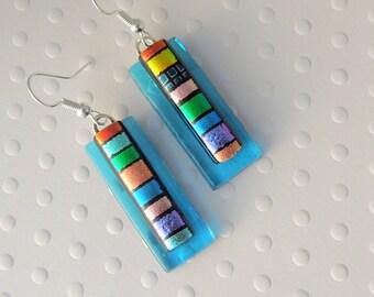 Hippie Earrings - Dichroic Fused Glass Earrings - Dichroic Earrings - Hippie Jewelry - Bohemian Earrings - Rainbow Earrings - Boho  X6332