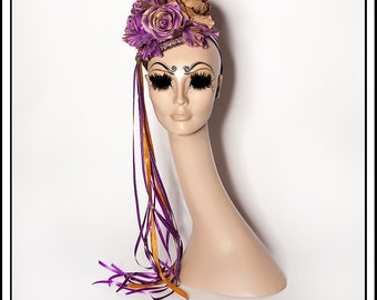 Fleurs De Mauve... Purple Floral Fascinator with Ribbons and Gold Copper Accents Champagne Pearls
