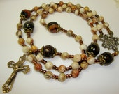 Catholic rosary, Mary with Flowers, mexican agate with bronze crucifix and center, man's rosary, gemstone rosary