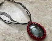 Hematite Pendant Wrapped in Chainmail