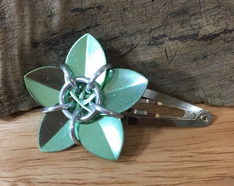 Shiny Seafoam Green Scale Flower Barrette