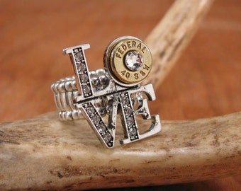 """Bullet Jewelry - Bullet Ring - CLEARANCE - Reg 34, Now 25!  """"I Love You"""" Ring - LOVE to Shoot"""" Bullet Casing Ring"""