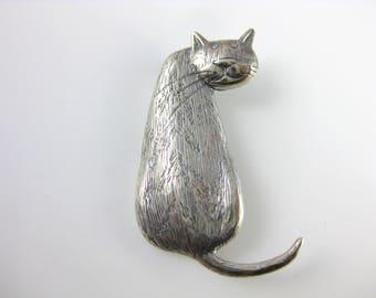 Vintage Cat Looking Back Sterling Silver Brooch