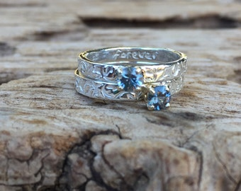 Montana sapphire engagement ring with silver vine band . alternative engagement ring . prong set sapphire ring . ready to ship size 6 6.5