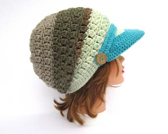 Crochet Newsboy Hat - Cake Pop Hat With Brim - Brimmed Beanie With Buttons - Slouchy Cap - Women's Hat - Visor Hat - Crochet Accessories