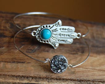 Bracelet Set. Dainty Thin wire cuff bracelets. Hand of Fatima with Turquoise Center. Gunmetal SilverDruzy Rough Crystal- Layering bracelets