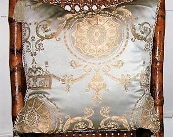"""NEW Let Them Eat Cake Decorative Pillow French Provincial Bullion Versaille Luxurious Spa Blue Metallic Taupe Gold Tassel 18"""" Throw Cushion"""