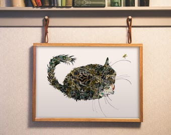 Beautiful Black Cat Art Print - Detailed Cat Art - Unique Cat Lovers Art- Open Edition 13x19, 11 x 14, 8.5x11, 8 x 10, 5 x 7