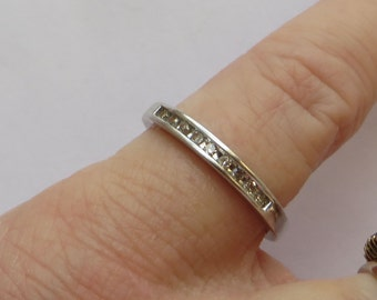 Channel Set 9 Diamond Anniversary or Stacking Band Ring in solid 10K W Gold, size 7.25, free US first class shipping on vintage items