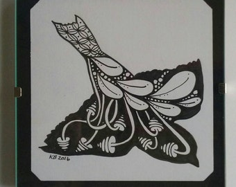 Zentangle Swallow original drawing with frame