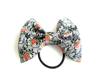 Floral and Lace Ponytail Hair Bow