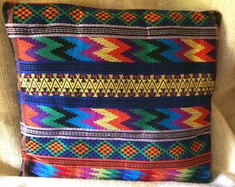 Throw Pillow, Cotton, Bright Colors with South American or Native American Design