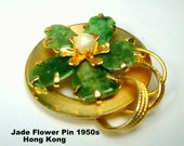 Chinese Jade Flower Pin,  Gold Brooch w Green Stone Petals, Pearl Center, 1950s, Hong Kong, Asian Traditional 14kt Look