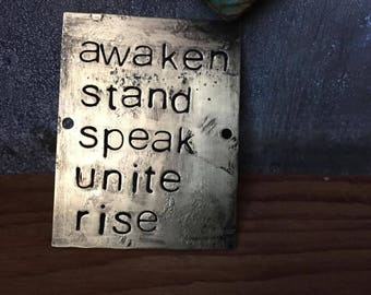 awaken and rise - blackened brass passages plaque