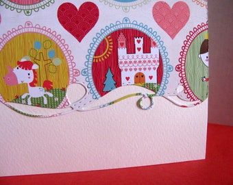 Castle & Pony with Hearts Border on Creamy Ivory Card / Princess, Girls / Red, Coral, Golden Yellow. / A2 Size / Ready to Ship