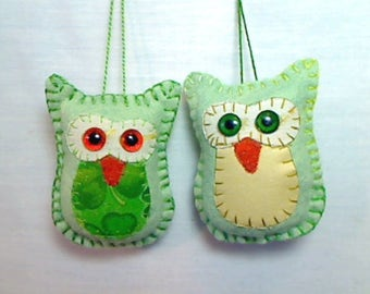 SALE PRICED ||| Mint green X-Small Felt Owl Ornaments| Slight Imperfections | Tree Ornament | Party Favors | Set/2 | #10