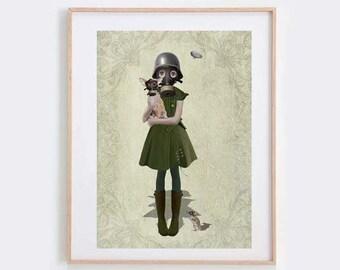 Gas Mask Girl Art Print - Gas Mask Girl Wall Art - Wall Decor - Steampunk Art  - Grace
