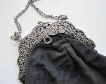 Victorian Purse, Silver Cherubs and Flowers, Black Taffeta Purse, Antique Purse, Cherubs Design