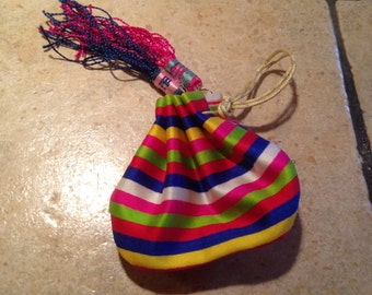 Small Striped Draw String Jewelry Pouch