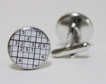The Easy To Evil Puzzle Cufflinks ~ Accessories Gift Groomsmen Crossword Numbers Game