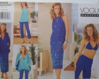 Easy Vogue 2425 Sewing Pattern Misses' High Fashion Wardrobe Drawstring Poncho, Top, Sarong, Crop Pants Size 14 - 18 UNCUT Pattern Destash