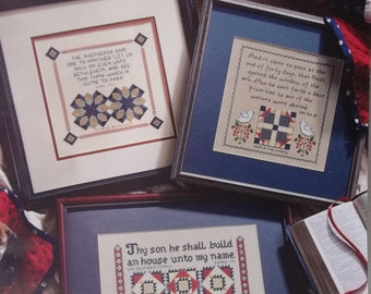 "Quilt Cross Stitch Pattern Book, ""Patchwork Samplers"" Christian Needlework Pattern, 12 Scripture Designs, Leisure Arts Praying Hands Series"