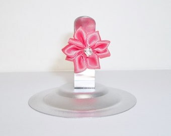 Wedding Table Number Holder, Shimmery Silver Place Card Holder, Set of 12 Stainless Steel Clip with Coral Pink Rhinestone Ribbon Flower