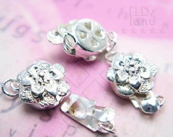 clearance sale -60% / B617SP / 12Sets / Diameter 10mm - Silver Plated 1-Strand Filigree Box Clasp Findings
