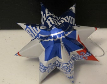 Upcycled Pabst Blue Ribbon PBR Beer Can - Star Ornament