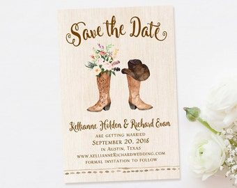 Cowboy Boot Save the Date-Rustic Save the Date-Country Save the Date-Cowboy-Cowgirl-Western-Photo Save the Date-Postcard Save the Date