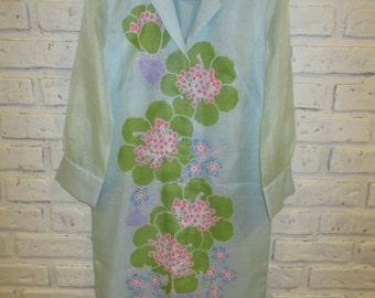 Vintage ALFRED SHAHEEN 1960's Floral Print Pale Blue Dress Size 10