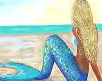 """Mermaid Art Mermaid Art Print Mermaid Wall Art Mermaid Decor Beach Art Decor Wall Hanging """"MERMAIDS MAGIC WATER""""  Leslie Allen Fine Art"""