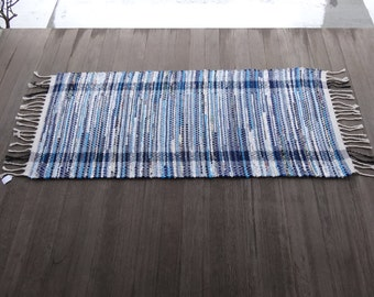 Hit and Miss Rag Rug in Blues and White
