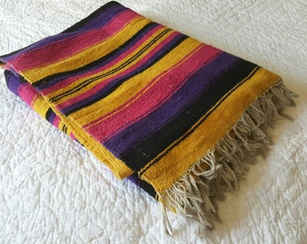 "VINTAGE Southwestern Saddle Blanket / 1980s Mexican tribal print / 78"" x 48"""