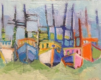 "Docked - Original Acrylic Oil Encaustic Boat Painting - 12""x 9"""