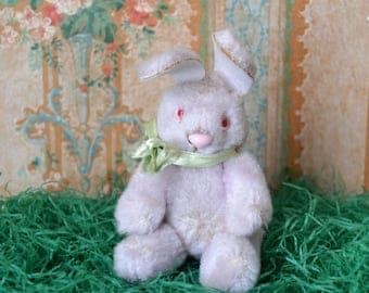 Vintage Plush Jointed Purple Bunny Rabbit Doll