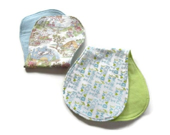 Ready To Ship - Set of 2 Gender Neutral Baby Burp Cloths - Nursery Rhymes Burp Cloth - I Love Mommy Burp Cloth