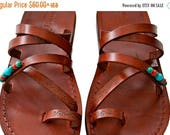 20% Off Brown Decor Buckle-free Leather Sandals For Men & Women - Handmade Sandals, Leather Flip Flops, Jesus Sandals, Brown Leather Flat Sa