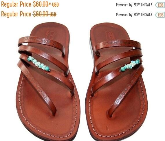 20% OFF 20 Percent OFF Brown Decor Rainbow Leather Sandals for Men & Women - Handmade Unisex Sandals, Flip Flop Sandals, Jesus Sandals, Genu