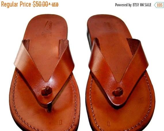 20% OFF Brown Surf Leather Sandals for Men & Women - Handmade Unisex Sandals, Flip Flop Sandals, Jesus Sandals, Genuine Leather Sandals