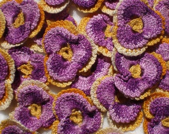 Vintage Appliques, Crochet Pansy Flower, 1940s Handmade Applique Embellishments in Purple Gold Yellow, Craft Supply