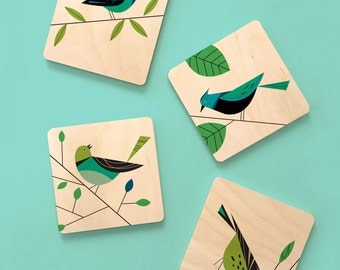 Midcentury Modern bird coaster set, birchwood coaster set, bird lover's gift, bird coasters, modern