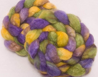 Hand dyed  BFL, Kid  Mohair, Hand dyed spinning wool,  combed top, felting fiber,  spinning fibre, Violetta