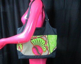 Wax Block Print Handbag - Bright color Block Tote Bag - African Fabric Shoulder Bag - Lime and Cerise Wax Block Print Fabric Purse