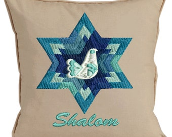 SALE reduced 10.00 Star of David Shalom embroidered pillows