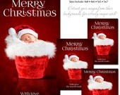 Christmas Photo Card Set - SANTA BABY 2016 - (4x6,4x8,5x5,5x7) - Digital Photoshop Templates for Photographers & Scrap Bookers.