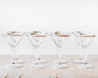 silver rim cocktail glasses, vintage 60s Dorothy Thorpe glasses, mid century stem glasses, 1960s barware