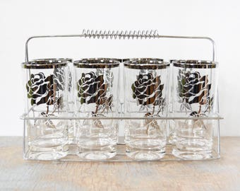 60s silver rose cocktail set, vintage 1960s silver rim glasses with caddy, mid century barware, dorothy thorpe inspired high ball glasses